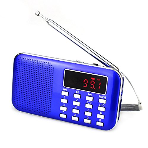 Lonve Mini Portable FM/AM Radio MP3 Player Media Speaker LCD Display Support Micro TF Card USB Disk with Emergency Flashlight