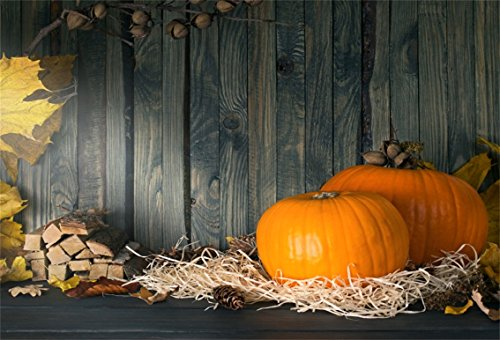CSFOTO 7x5ft Background for Pumpkin Straw Wood Floor Photography Backdrop Hardwood Stack Leaves Autumn Fall Rural Interior Inside Holiday Festival Celebrations Child Studio Props (100 Floors Halloween Special Floor 5)