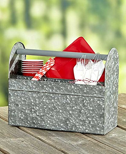 Galvanized Serving Tray Caddy