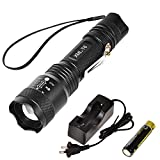 CVLIFE LED Tactical Flashlight T6 Outdoor Torch Light with 18650 Rechargeable Battery and Charger