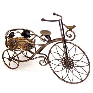 Metal Bronze Effect Miniature Penny Farthing Bike Garden Planter