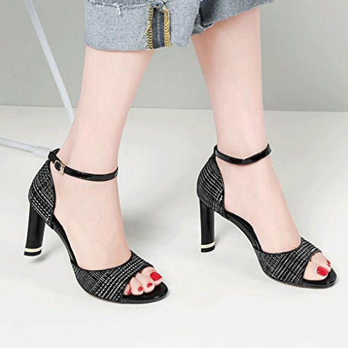 Thick High Femmes Sexy Shoes Sandales New Sweet Fashion Jazs® Pour Heeled Noir À Mode Style Head Round Élégant La wEYXWCRxq