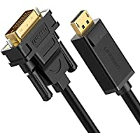 UGREEN DP to DVI, Gold Plated DisplayPort to DVI-D 24+1 Cable Male to Male Cord