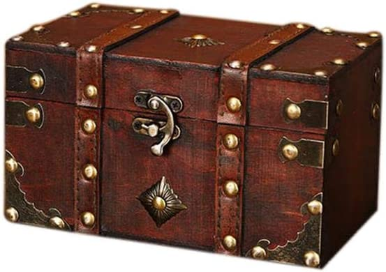 Wetour Cofre del Tesoro - Cofre de Madera, Caja de Pirata, Caja de Regalo con Llave, Gran Cofre del Tesoro V, A: 18 * 11 * 10 cm: Amazon.es: Hogar