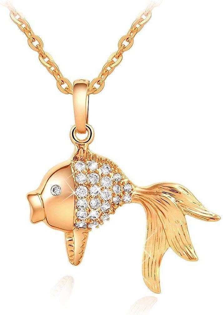 Collar para Mujer con Colgante de pez Rojo con decoración de Piedras Preciosas, Cadena de Tono Oro de 18 Pulgadas, Joyas de Ceremonia de Boda