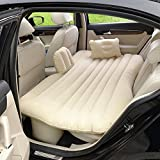 CDGroup [Buy 1 GET 8] Car Inflatable Mattress Flocking, Back Seat Extended Air Bed for SUV, Inflatable Air Bed Cushion Changeable and Multifuncional for Long Driving Trips,Travel, Camping (Beige)