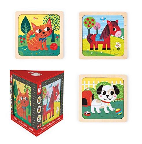 Janod - J07076 - Coffret 3 Puzzles Bois 9 pcs