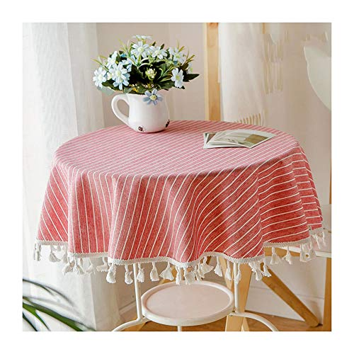 Linen Round Tablecloth, Elegant and Simple with Lace Hanging Ear Coffee Table Computer Table Mat Cover Towel Fresh Cotton and Linen Family Table Decoration Tablecloth