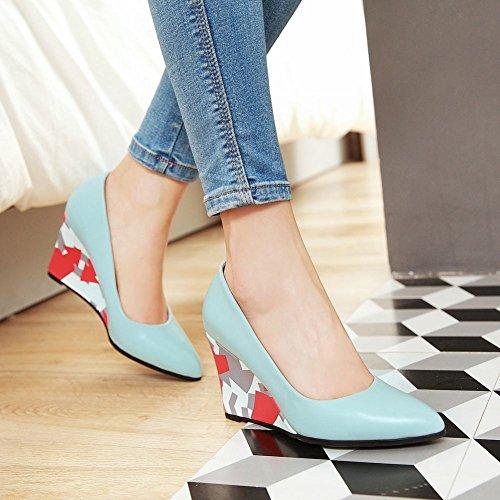 MissSaSa Damen keilabsatz ohne Strap Pointed Toe Pumps Blau