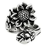 Silver-Wear Swirls Sterling Silver Adjustable Antique Finish Sunflower Spoon Style Ring, Sizes 6-11