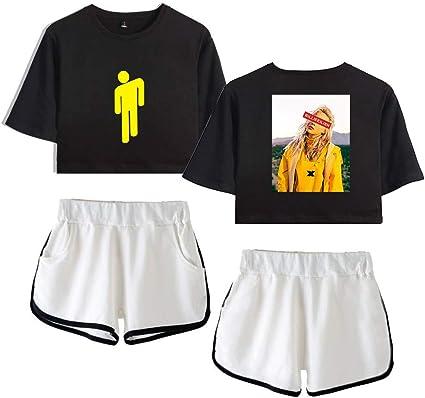 Wons Mode Crop Top T Shirts Und Shorts Set Billie Eilish Printed Suit Fur Madchen Und Frauen Style1 Xxl Amazon De Sport Freizeit