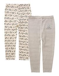 AIEOE Baby Organic Cotton Pants Soft Comfortable Cartoon Pattern Pants 2 Pack
