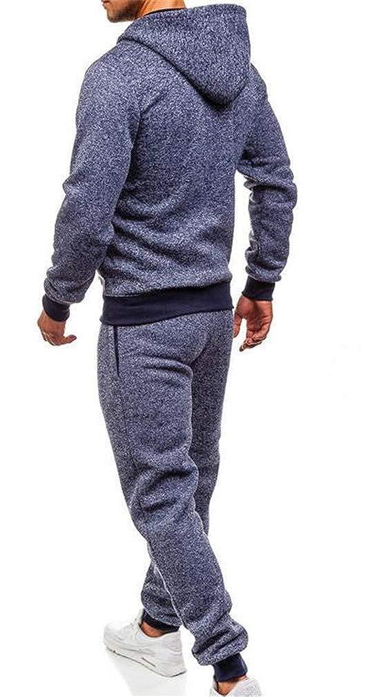 Joe Wenko Men Pocket Comfortable Drawstring Hooded 2 Piece Sweatshirts Tracksuit