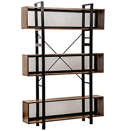 WAYTRIM 6-Shelf Bookcase with Metal Wire, Vintage Industrial Bookcase Display Shelf Storage Organizer, Bookshelf with Metal Frame for Home & Office, 47.2 L x 9.4 W x 71 H - Vintage Brown (Vintage Industrial Bookshelf)