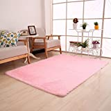 Super Soft Modern Shag Area Rugs Living Room Carpet Bedroom Rug for Children Play Solid Home Decorator Floor Rug and Carpets 4- Feet By 5- Feet (Pink)