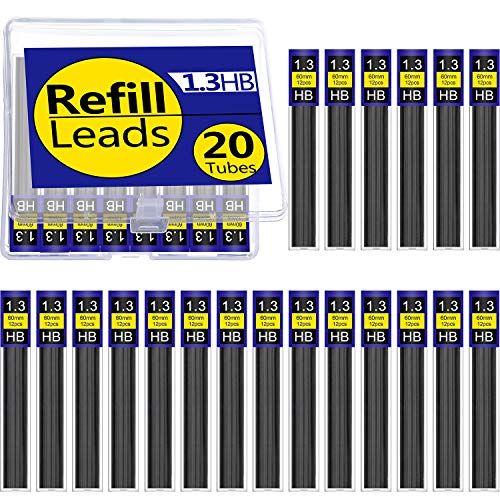 (Tatuo 20 Tubes HB Black Lead Refills Mechanical Pencil Refills with Plastic Box, 240 Pieces (1.3 mm))