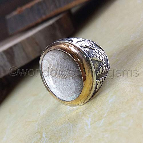 Genuine Fossil Coral - Fossil coral ring, semi precious man ring, 925 sterling silver, antique ottoman middle east style jewelry, huge men ring, Arabic design ring, two tone, man's ring, anniversary gift ring