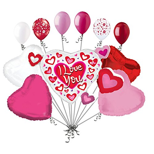 11pc Heart Cluster I Love You Balloon Bouquet Mine Hug Kiss Happy Valentines Day Sweetest