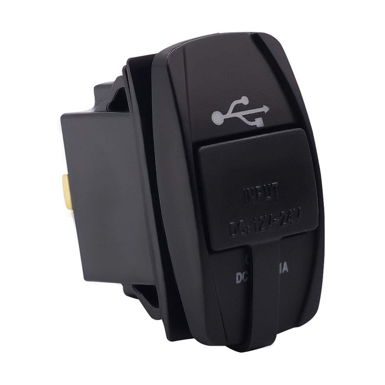 Prise de Chargeur de Voiture USB, Prise de Chargeur de Voiture Universel USB avec lumière LED Prise de Courant de Double Adaptateur de Charge de téléphone USB pour Panneau Interrupteur à Bascule Redstrong