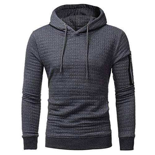 FORUU Mens' Long Sleeve Plaid Hoodie Hooded Sweatshirt Tops Jacket Coat Outwear ()