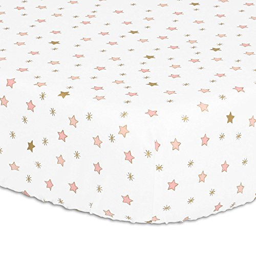 Coral Pink and Gold Stars Fitted Crib Sheet by The Peanut Shell