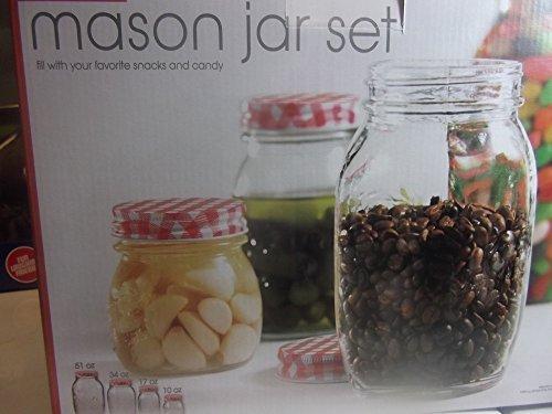 Mason Jar Set 4 Piece Storage Containers w/ Red Gingham Lids