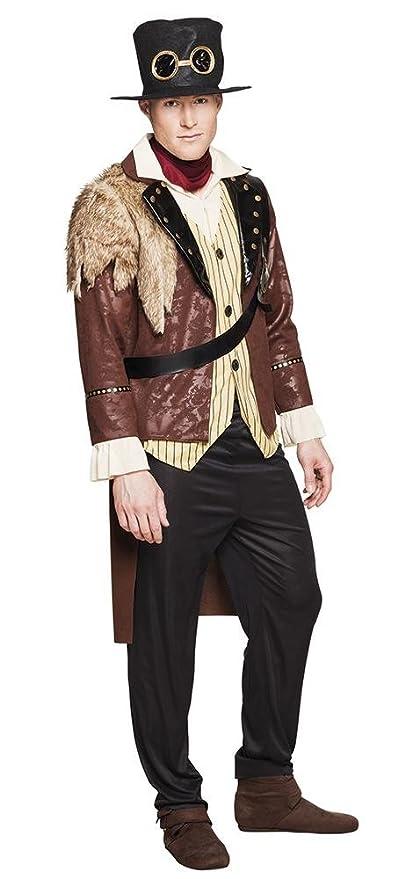shoperama de 4 Piezas Steam Punk Captain Hombre Disfraz Abrigo con Sombrero de Camisa Pantalones Pañuelo
