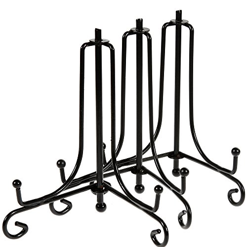 Lictin 3pcs 4 Black Iron Display Stand, Black Iron Easel Plate Display, Display Stand Curve Design for Home Decoration, 4 Tall Holds Cook Books, Plates, Pictures & More(4 Inch)