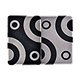 Smartcatcher Mats Bullseye Collection Waterproof Non Slip Kitchen Mats Set of 2, Black And Silver Grey Color