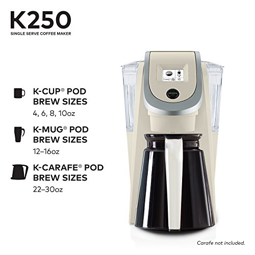 Keurig K250 Single Serve, K-Cup Pod Coffee Maker with Strength Control, Sandy Pearl