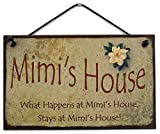 5x8 Vintage Style Sign with Magnolia Saying, ''Mimi's House What Happens at Mimi's House, Stays at Mimi's House!'' Decorative Fun Universal Household Signs from Egbert's Treasures