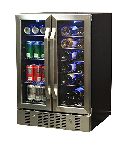 NewAir AWB-360DB 18 Bottle 60 Can Dual Zone Built-In Wine & Beverage Cooler, Stainless Steel/Black (Beverage Air Bottle Cooler)