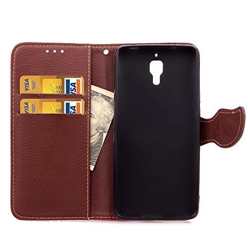 Funda Piel con Tapa para Xiaomi Mi4,Flip Fina Case de Cuero Billetera para Xiaomi Mi4, TOCASO Personalizada Completa Wallet Ultra Slim Cartera Carcasa Sólido Colored Flor Cover, Magnet Hoja del Arbol  Roja