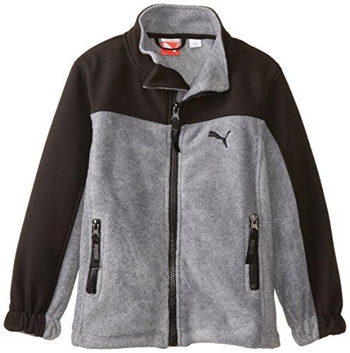 PUMA Little Boys' Polar Fleece Jacket, Medium Heather Grey, 4