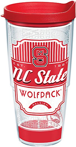 (Tervis 1228346 NC State Wolfpack Pregame Prep Tumbler with Wrap and Red Lid 24oz, Clear)