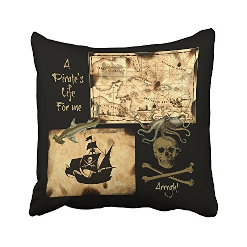Sneeepee Decorative Pillowcases Vintage a Pirates Life For Me Caribbean Treasure Map 16X16 Inches Throw Pillow Covers Cases Home Decor Sofa Cushion Cover - Caribbean Pillowcase