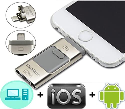 Lightning OTG Jump Drive iPad Me... 3-in-1 256GB USB Flash Drives for iPhone