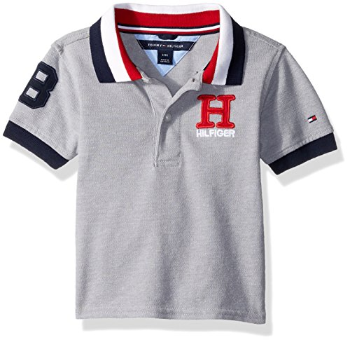Tommy Hilfiger Baby Boys Short Sleeve Ivy Polo, Grey Heather, 18M