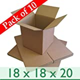 Pack of 10 Home Removal Packing Cartons - Double Wall Cardboard Boxes - 18' x 18' x 20' / 450mm x 450mm x 500mm