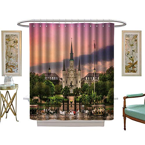 luvoluxhome Shower Curtains Waterproof Jackson Square New Orleans Bathroom Accessories W69 x ()