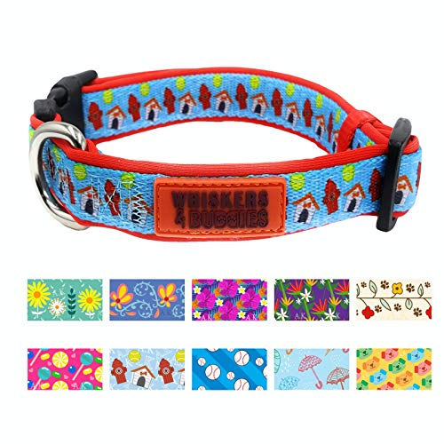 WHISKERS & BUDDIES Dog Collar with 10 Patterns Adjustable, Extra Soft and Comfy (Medium (3/4