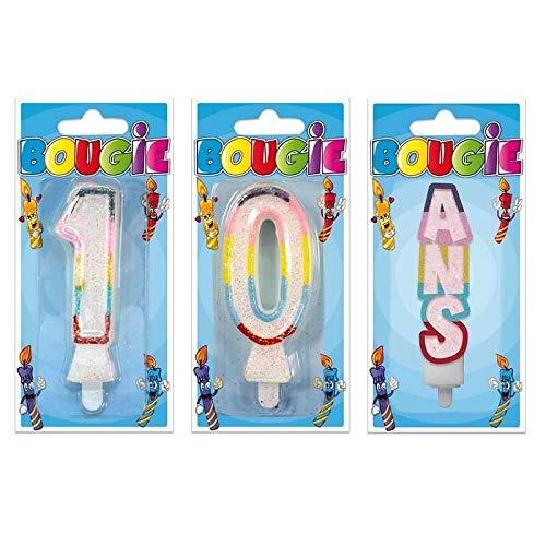 S 1 - Vela de cumpleaños (10 años, Purpurina): Amazon.es: Hogar