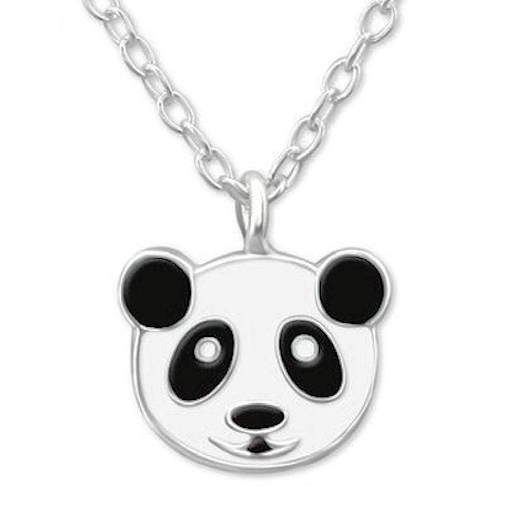 So Chic Bijoux © Collier Enfant Longueur 39 cm Tête Panda Noir & Blanc Argent 925 LB7016