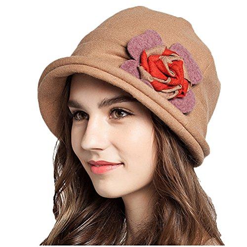 Maitose Trade; Women's Decorative Flowers Wool Bucket Hat Khaki