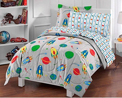 5pc Boys Grey Outer Space Themed Comforter Twin Set, Orbit Rocket Comets, Gray Blue Red Yellow Green Orange, Rocket Ship Plants Bedding, Planet Earth Moon Saturn, Meteor Stars (Meteor Rocket)