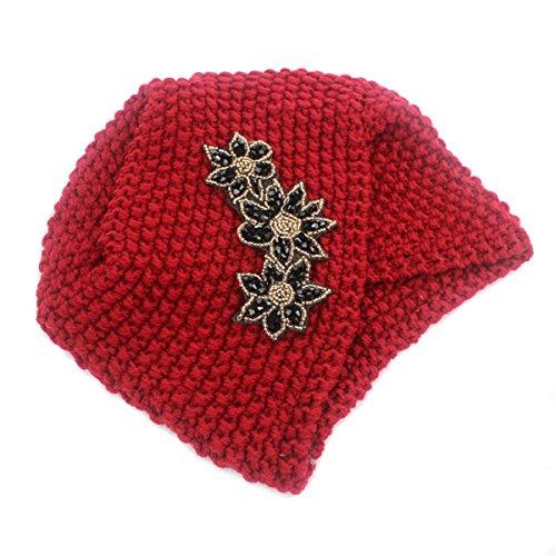 Wholesale Boutique Jewelry Costume (Qhome Ladies Winter Warm Turban Soft Knit Headband Beanie Crochet Headwrap Women Hat Cap with Beaded Jewelry)