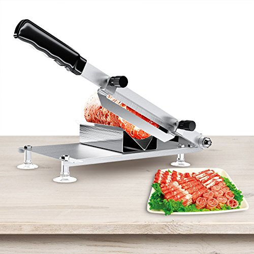 Manual Frozen Meat Slicer, Stainless Steel Handle Meat Cutter Beef Mutton Sheet Slicing Machine,Roll Meat Vegetable Meat Cheese Food Slicer for Home Kitchen and Business Use