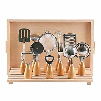 JYfff Mango de madera vajilla manija de madera pequeños utensilios de cocina batidor de huevo cuchillo