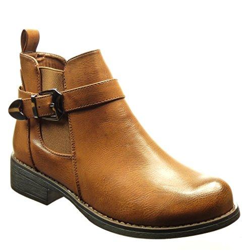Angkorly - Zapatillas de Moda Botines chelsea boots mujer Hebilla metálico Talón Tacón ancho 3 CM - Camel