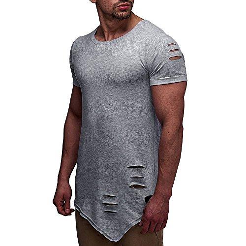 Men's Fashion Casual Slim Hole Tops Personality Short-Sleeved Shirts Blouses Beautyfine ()